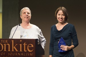Katherine Schneider (left) presents the 2015 Katherine Schneider Journalism Award for Excellence in Reporting on Disability to ProPublica reporter Heather Vogell (right).