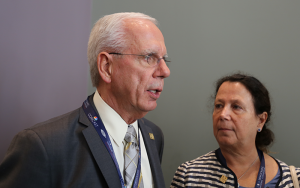 Disability rights advocate Tony Coelho speaks at a disability caucus event at this year's Democratic National Convention. (Lily Altavena/NCDJ)