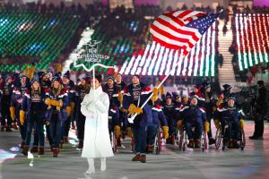 Team USA in the opening ceremony of the 2018 Winter Paralympics in Pyeongchang.