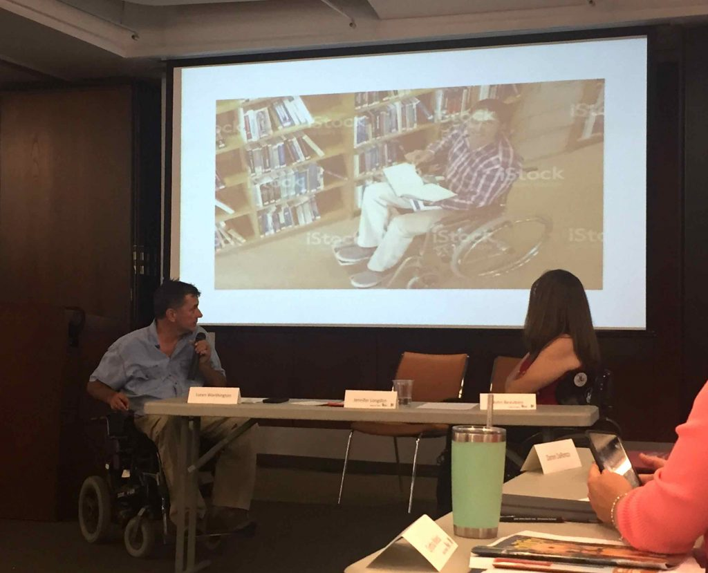 Loren Worthington (left) and Jennifer Longdon lead a tutorial on digital media accessibility and appropriate visual elements for disability stories.