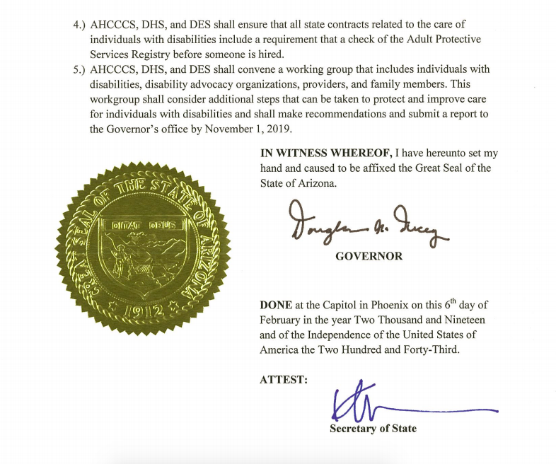 Page two of Gov. Ducey's Executive Order 2019-03, showing his signature and the Arizona state seal