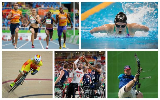 A collage of para athletes competing in swimming, track, basketball, and archery events. Image: paralympic.org