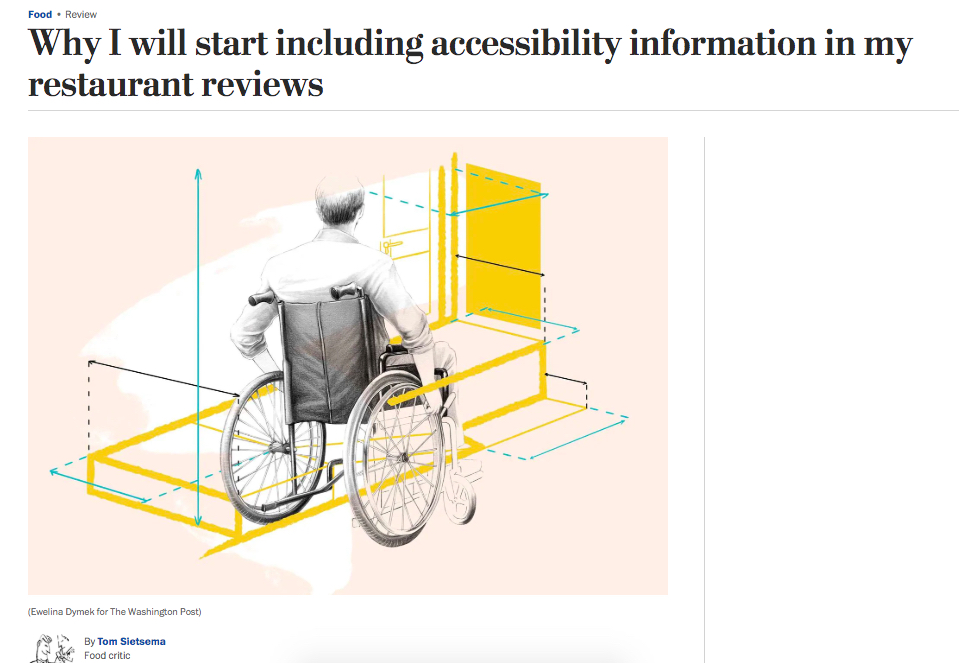 "A screenshot of ""Why I will start including accessibility information in my restaurant reviews,"" Washington Post food critic Tom Sietsema's article that was published on May 22."