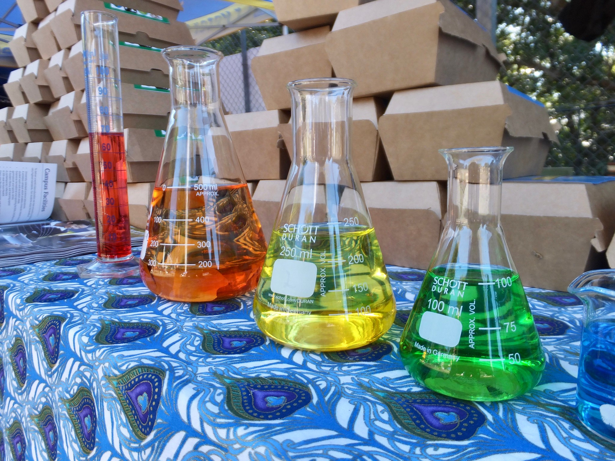 Different chemistry beakers full of chemicals in the colors of the rainbow