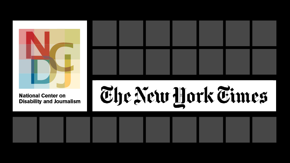 NCDJ logo and New York Times logo together on black and grey grid.